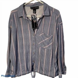 POLLY & ESTHER Button Stripe Tie Front Top NWT